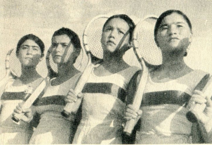 Uzbek Pioneer Girls on the Tennis Courts at Tashkent